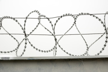 Wall with razor wire in Winter