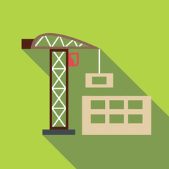 Crane with load icon. Flat illustration of crane with load vector icon for web