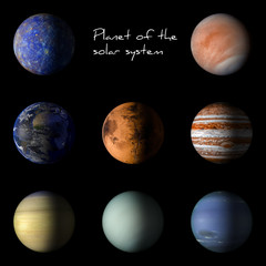 Set of solar system planets on black background 3d rendering.