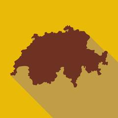 Map of Switzerland icon. Flat illustration of map of Switzerland vector icon for web