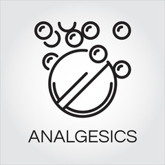 Symbol of analgesic in abstract linear drawn in outline style