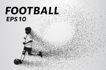 Football of the particles. The player with the ball is composed of circles and dots. Vector illustration