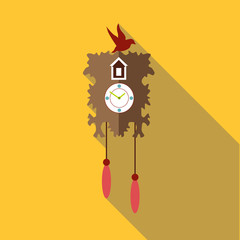 Wall cuckoo clock icon. Flat illustration of wall cuckoo clock vector icon for web