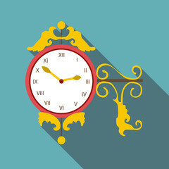 Street clock icon. Flat illustration of street clock vector icon for web