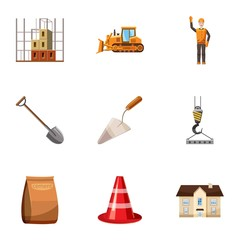 Construction tools icons set. Cartoon illustration of 9 construction tools vector icons for web