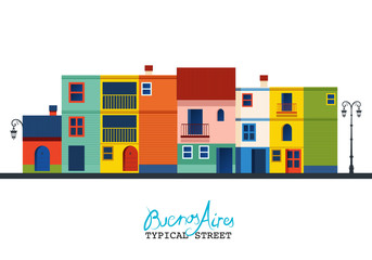 """Buenos Aires. Typical houses of """"La Boca"""" neighborhood. """"Caminito"""" street."""
