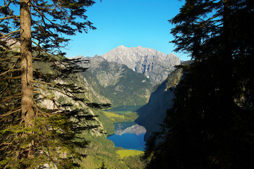 View of the deep valley with lakes of Obersee and Königsee, Berchtesgaden National Park, Germany