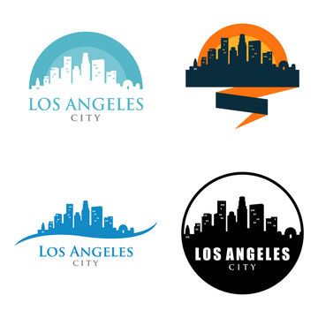 Los Angeles City Skyline Landscape Logo Symbol Set