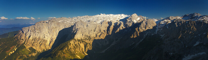 Panoramic view of the carstic massif of Hochkonig, Austria