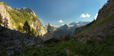 Panoramic view of the carstic mountain valley, Berchtesgaden National Park