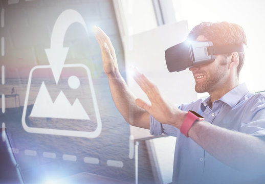 User in Business Attire with VR Goggles Mockup 2