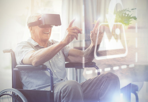 Senior User in a Wheelchair with VR Goggles Mockup