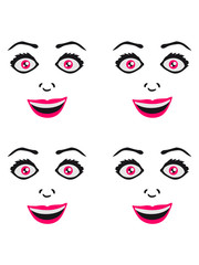 Pattern woman female girl sexy face grin comic cartoon text font logo design cool crazy crazy confused stupid silly comical disturbed