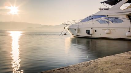 Luxury Yacht at Harbor Before Sunset, Long Exposure Shot