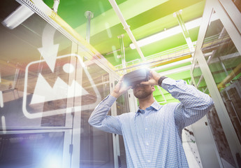 User in Server Room with VR Goggles Mockup