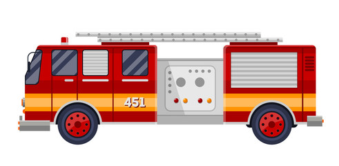 red fire truck engine on white vector illustration.