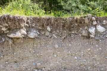 Aufschluss Bodenprofil an Flußufer