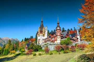 Amazing ornamental garden and royal castle,Peles,Sinaia,Transylvania,Romania,Europe