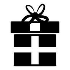 Black gift box icon isolated over white background, vector illustration.