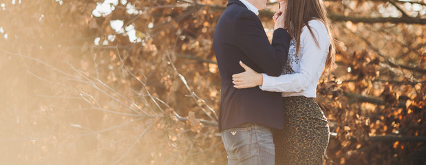 Young Couple Man and Woman Hugging in Love Romantic Outdoor