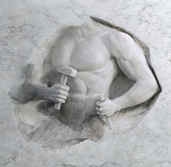 epic background of athletic man cuts his sports body of marble stone