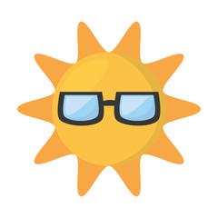 cute sun funny glasses hot vector illustration eps 10
