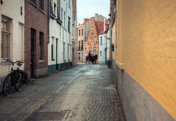 Horseman on the narrow street in Bruges, Belgium