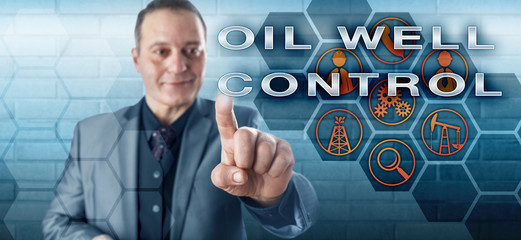 Happy Petroleum Manager Pushing OIL WELL CONTROL