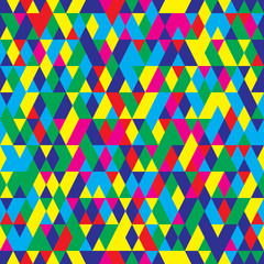 Seamless pattern with triangles . Abstract background in bright colors