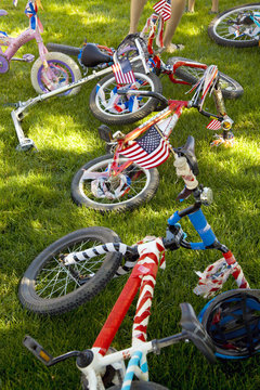 Children's bicycles decorated for July Fourth, US, 2016.
