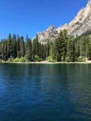 Shoreline and mountain side on Redfish Lake, ID, US, summer 2016