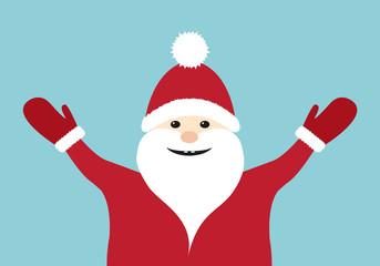 Happy Santa Claus on blue background. Vector.