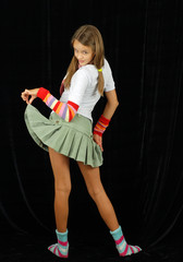 mischievous girl in a short skirt