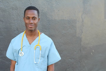 African doctor portrait with copy space