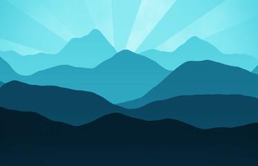 blauer grafischer sonnenuntergang mit bergen blue graphical suns