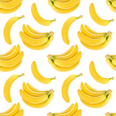 Seamless pattern with bananas isolated on white background, with clipping path