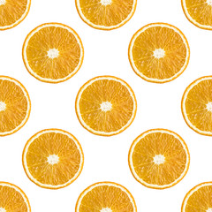 Seamless pattern of oranges fruit isolated on a white background