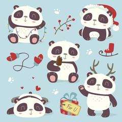 vector cartoon style cute christmas panda set