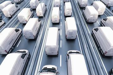 3d design of Vans in motion on highway