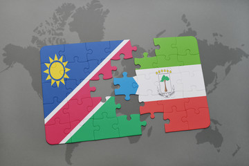 puzzle with the national flag of namibia and equatorial guinea on a world map