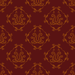 Stylized decorative dragon head seamless hand drawn pattern