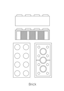 Technical line drawing of building blocks