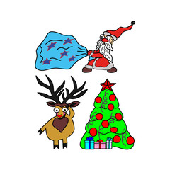 Set vector illustration for Christmas and New Year. Santa Claus with a bag of gifts, deer  and Christmas tree