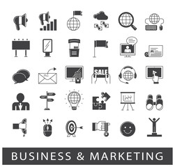 Set of business and marketing icons. Collection of premium quality icons for advertising and communication. Vector illustration.
