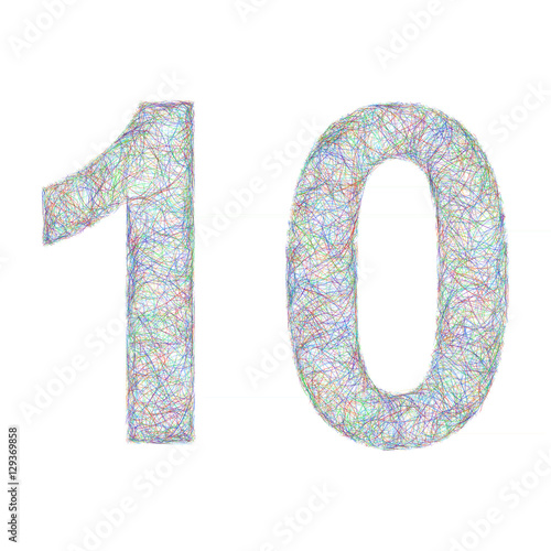 """Colorful sketch anniversary design - number 10"" Stock ..."