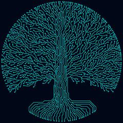Hi-tech circuit style round yggdrasil tree. Cyberpunk futuristic design.