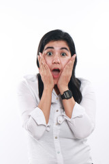 Young Asian Businesswoman Excited and Surprised