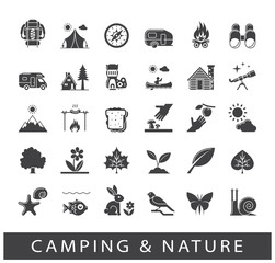 Set of camping and nature icons. Spending time in nature. Picnic, hiking in the wild. Collection of outdoor icons. Vector illustration.
