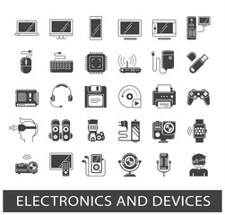 Set of electronic device icons. Icons related to electronic and devices.