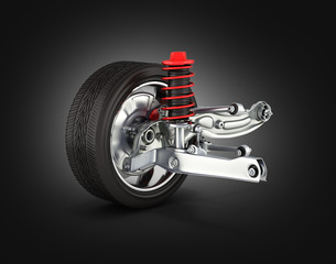 suspension of the car with wheel on black gradient background 3d